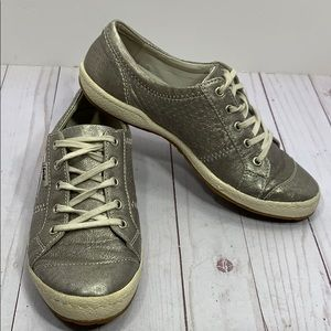 Josef Siebel silver leather lace up sneakers